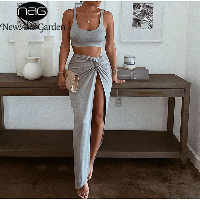 NewAsia Sexy Party 2 Piece Set Women Plus Size Crop Top Twist Side Split Long Skirts Matching Sets Club Two Piece Outfits 2021 1