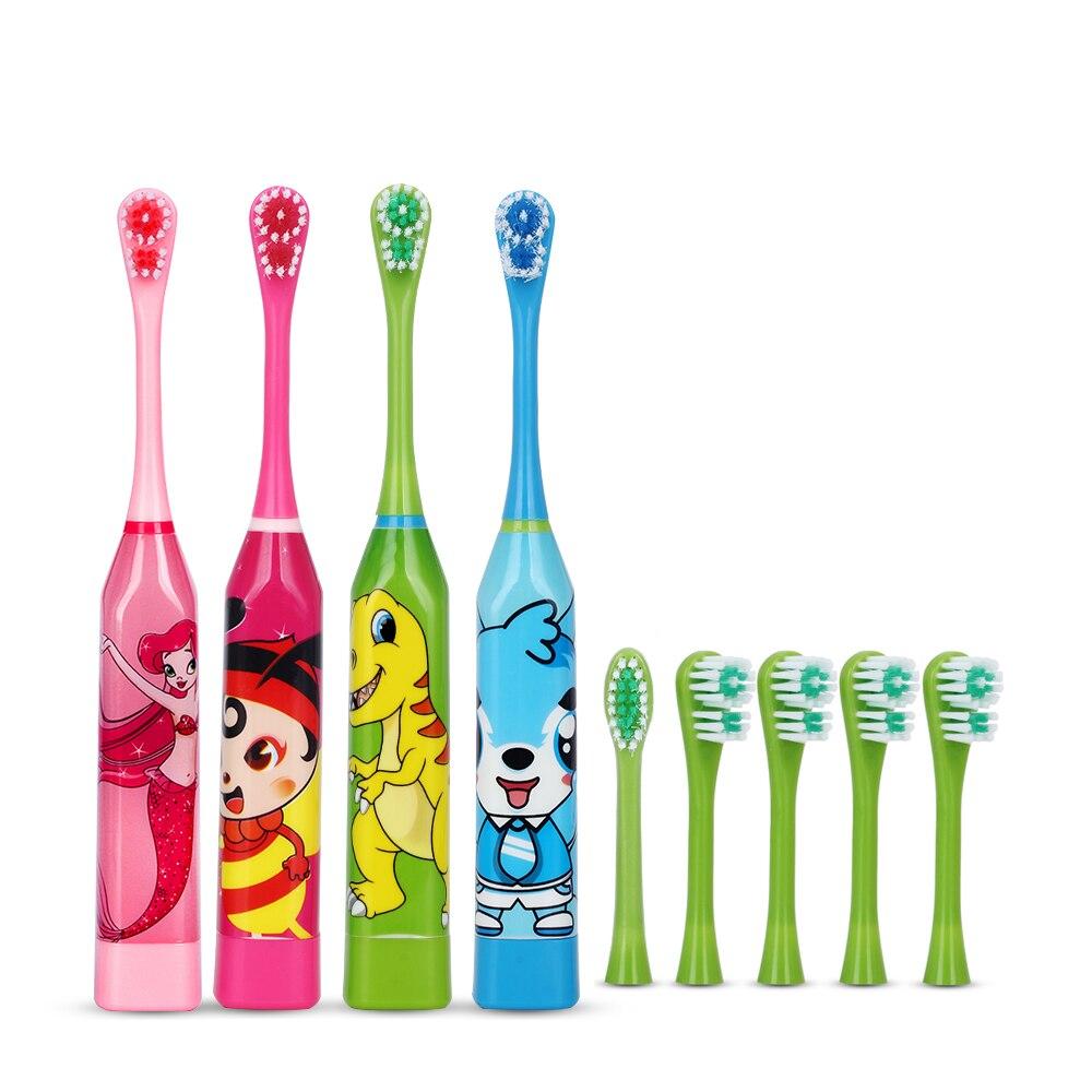Лидер продаж, Детская электрическая зубная щетка с мультяшным рисунком, двухсторонняя зубная щетка, насадки зубных щеток для детей с мягкими сменными головками