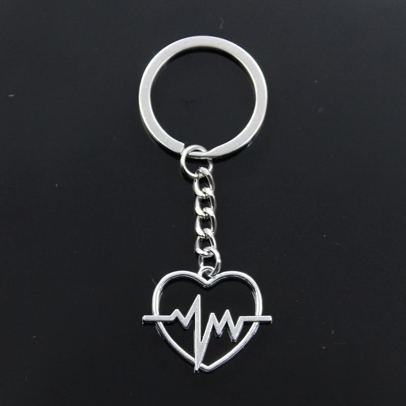 Fashion Keychain 25x30mm Heart Heartbeat ECG Pendants DIY Men Jewelry Car Key Chain Ring Holder Souvenir For Gift