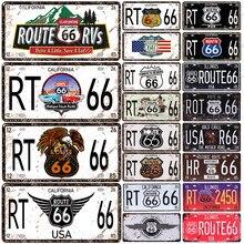 Rota 66 placa de licença do vintage metal poster retro flandres califórnia estanho sinais placa pub bar cafe garagem decoração da parede 15x30cm