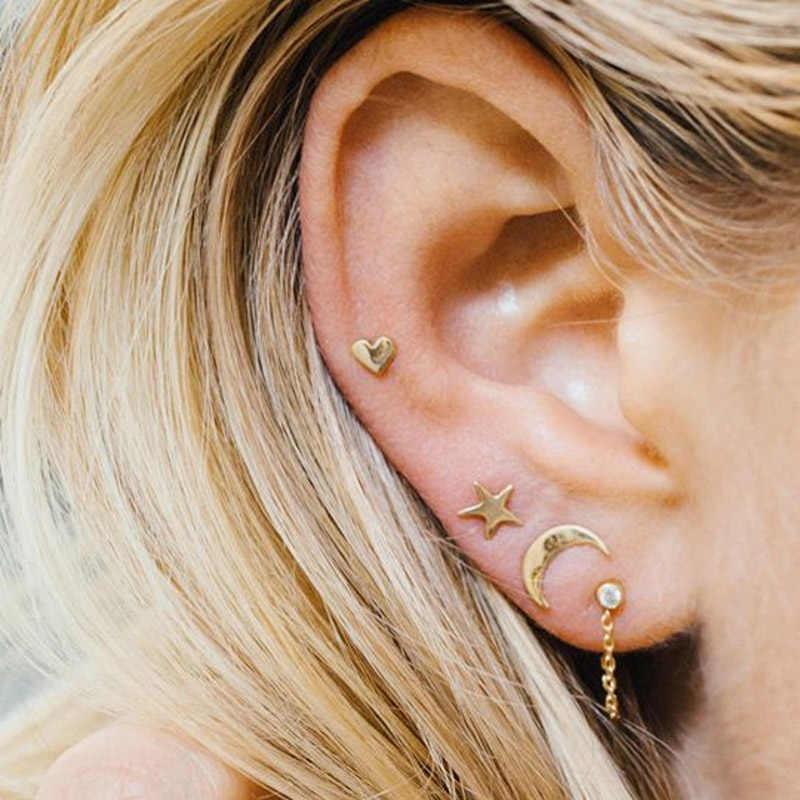 3 sztuk zestaw kobiety Lady kolczyki dla dziewczyn Ear Stud gwiazda księżyc biżuteria w kształcie serca prezenty AIC88