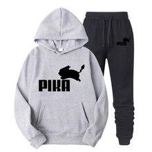 2019 Nova Marca de Moda Adorável Pokemon Moletons Homens do hoodie Anime Pikachu Pika Hoodies Dos Homens/Mulheres Camiso