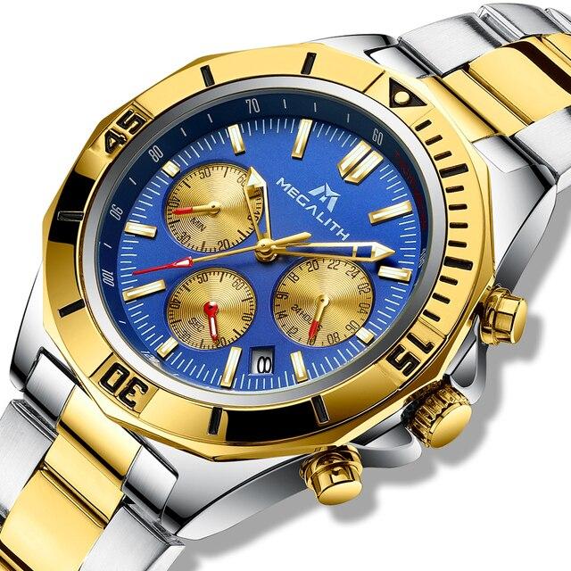 MEGALITH hommes Sport montres de luxe marque or bracelet en acier montres hommes étanche lumineux Quartz homme horloge Reloj Hombre 2019