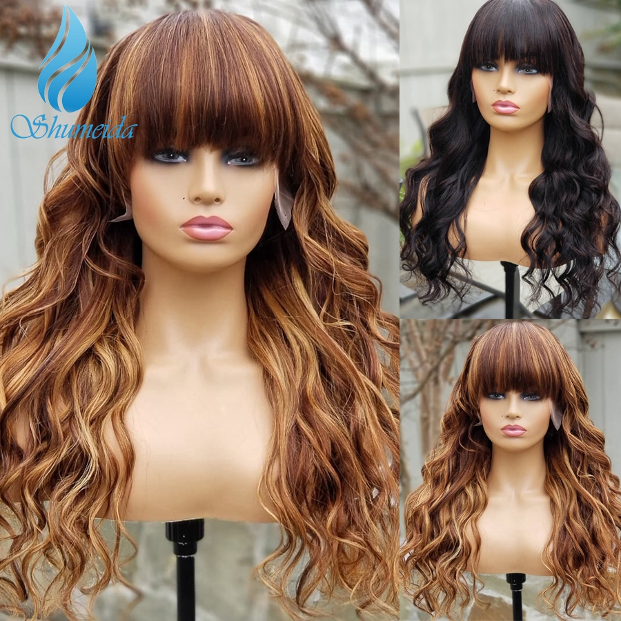 Highlight Color Lace Front Human Hair Wigs With Bangs 180% Density Brazilian Virgin Hair Glueless Lace Front Wigs Baby Hair