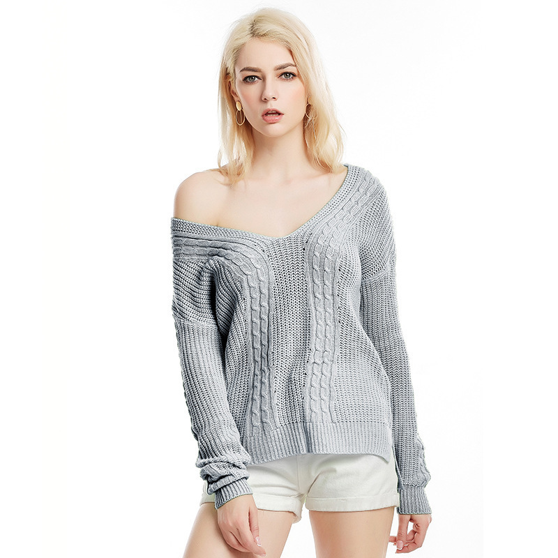 Black Gray Autumn Casual Sweater Women Solid Knitted Sweaters Pullovers Long Sleeve Tops V-neck Basic Office 2020 LX2033