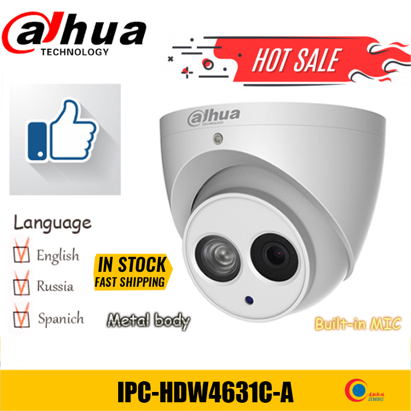 Dahua  IPC-HDW4631C-A  6MP POE H.265 Dome IP Camera Built-in Mic IPC-HDW4433C-A 4MP IR Security Cctv Dome Camera PFB203W PFB204W