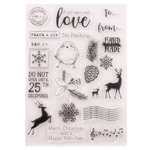 Christmas Snowflake Deer Transparent Clear Stamps for Scrapbooking DIY Card Making Cutting Crafts Stencil