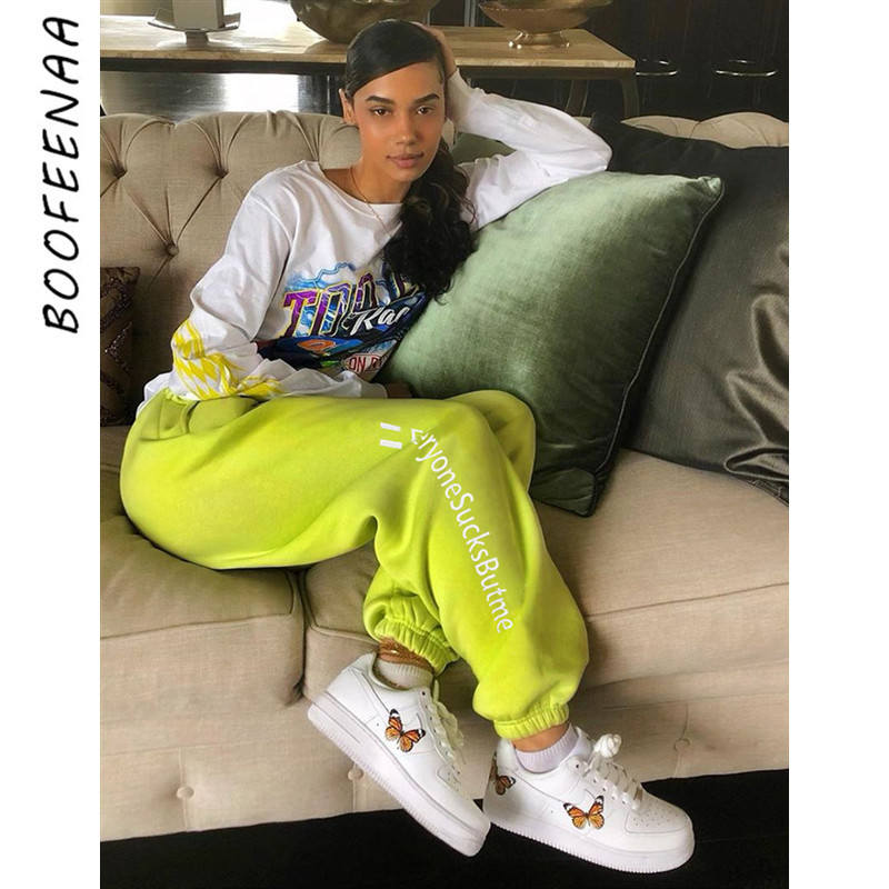 BOOFEENAA Sweatpants Letter Print Neon Green High Waist Autumn Winter Pants Women Streetwear Joggers Hip Hop Trousers C94-AE66