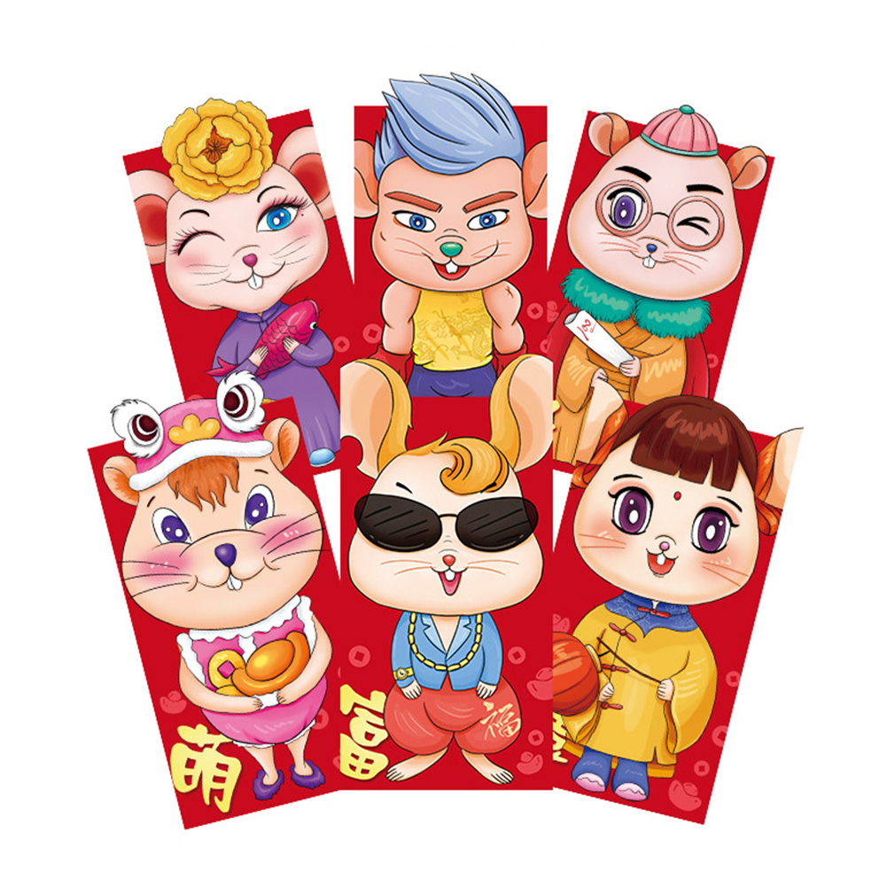 6pcs/set Lucky Gift Bag Cartoon Rat Pattern Chinese New Year Spring Festival Wedding 2020 Traditional Red Envelope Money Pocket