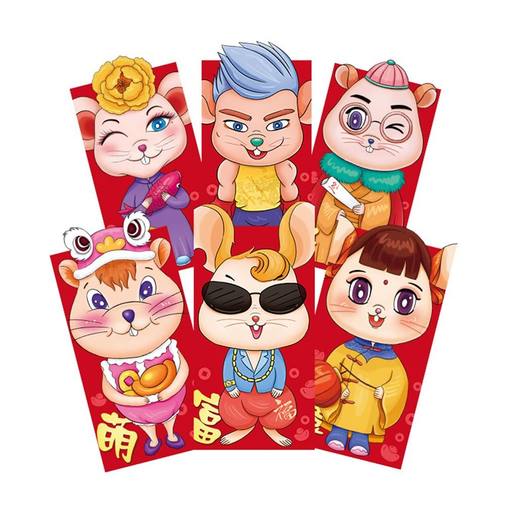 6pcs/set Lucky Gift Bag Cartoon Rat Pattern Chinese New Year Spring Festival Wedding 2020 Traditional Red Envelope Money Pocket