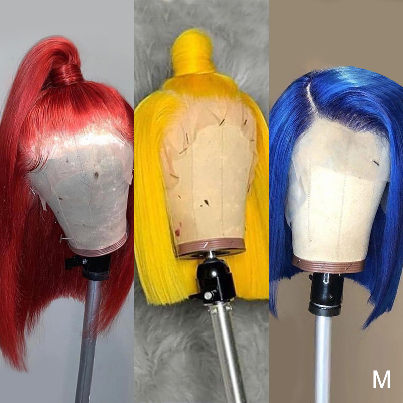 Human-Hair-Wigs Blonde Transparent Lace Bob Lace-Front Colored Yellow Straight Blue 13x6