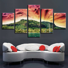 Art Canvas Painting 5 Pieces Lake And Mountain Sunshine Natural Scenery Poster For Living Room Wall Decor