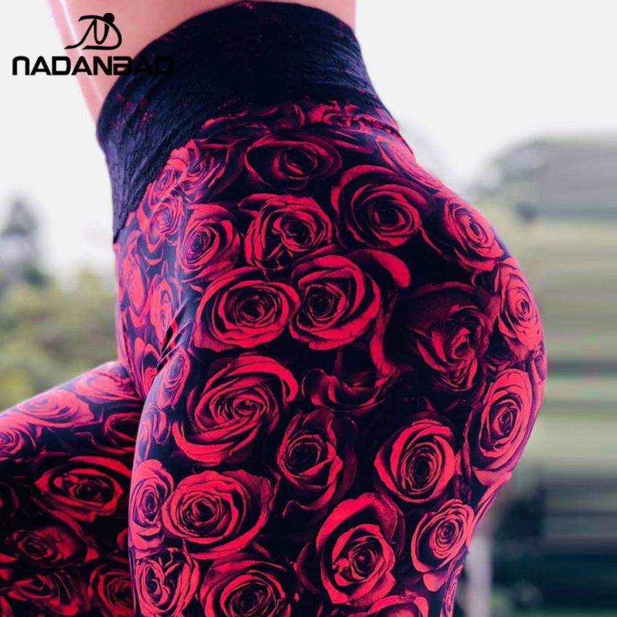 NADANBAO Women Fitness Leggings 3D Rose Printed Leggings High Waist Elastic Jogging Sexy Female Pants