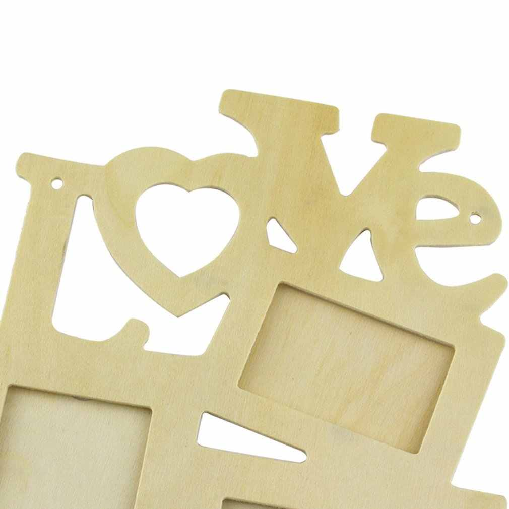 OUTAD 3 cajas hueco amor cuadro de madera marco arte decoración cuadros fotográficos para pared Vintage foto marco marcos decoración para el hogar