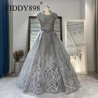 Luxury Grey Evening Dresses 2020 Tassel Short Sleeve Beaded Evening Gown Organza Formal Evening Dress Vestido de Fiesta