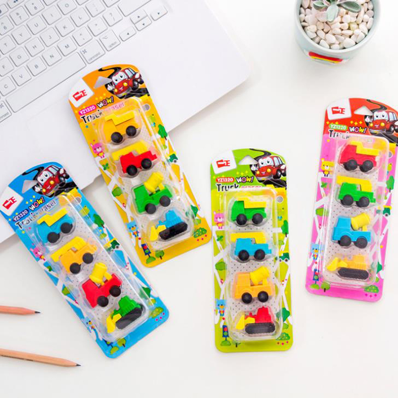 4 Pcs/pack Kawaii Mini Engineering Vehicle Truck Car Rubber Pencil Erasers Correction Eraser Students Stationery Gifts