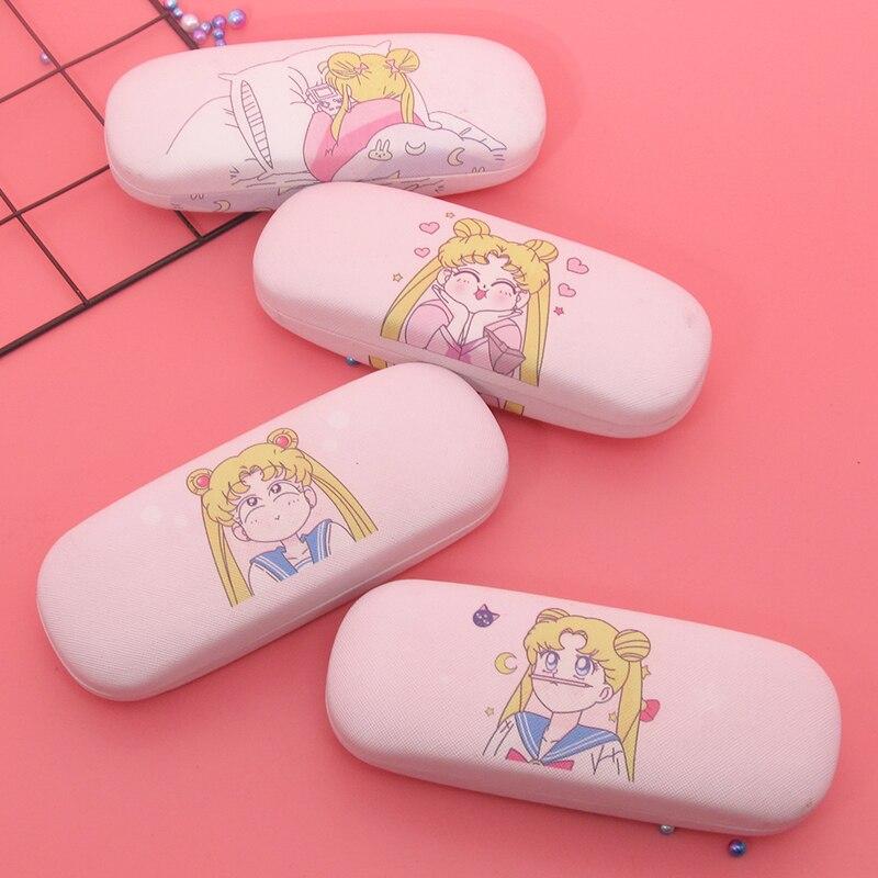 Sailor Moon Caso Óculos de Couro Para As Mulheres À Prova D Água Rígido Casos Espetáculo Armação de Óculos Caso Caixa de Óculos de Leitura Da Menina Rosa