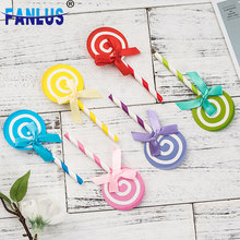 6pcs/Set Colorful Plastic Cake Topper Happy Birthday Party Decorations for Home Lollipop Cupcake Decoration Supplies Baby Shower(China)