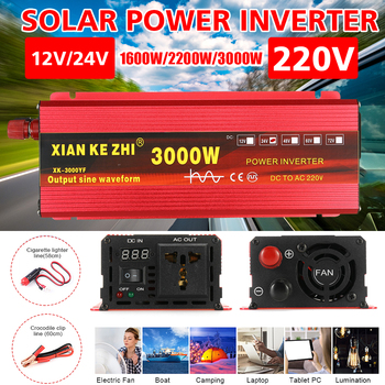 2000W 3000W Pure Sine Wave Inverter  DC12 / 24 to AC 220V Portable Car Power Inverter Charger Converter Adapter +LED Display intelligent screen pure sine wave power inverter dc12v dc24v to ac220v 3000w 6000w converter with lcd display