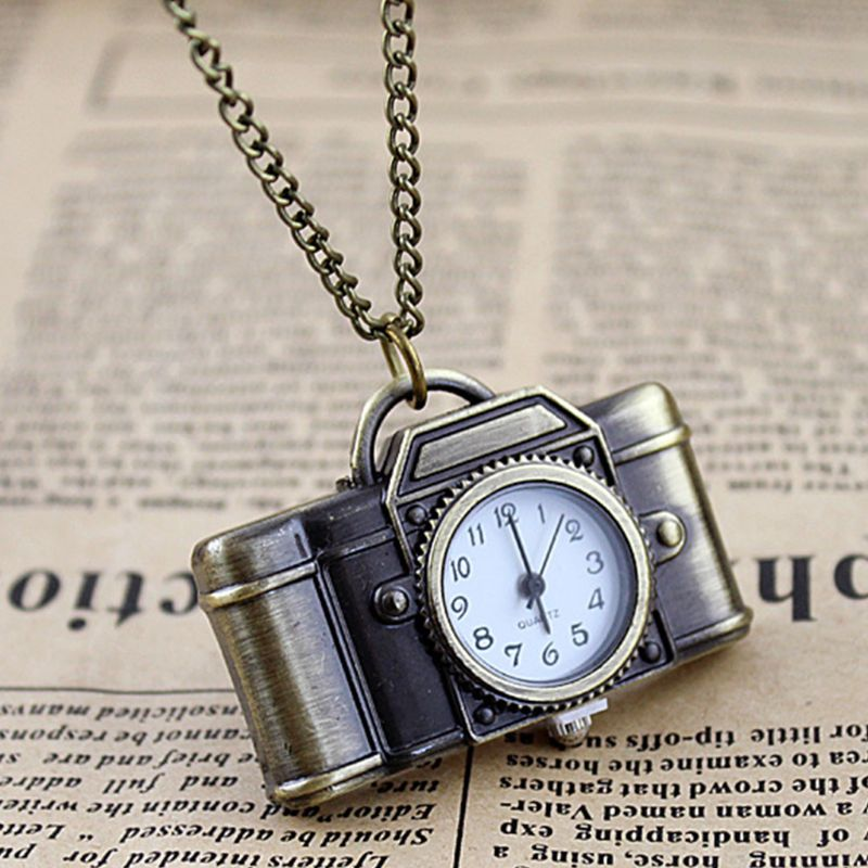 Pocket Watch Quartz Vintage Camera Shape Creative Mini Chain Portable Party Charm Women Necklace Pendant Bronze Pocket Watch