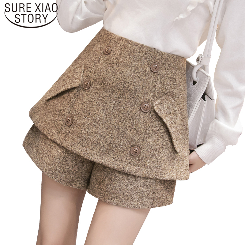 Elegant Leather Shorts Fashion High Waist Shorts Girls A-line  Bottoms Wide-legged Shorts Autumn Winter Women 6312 50 67