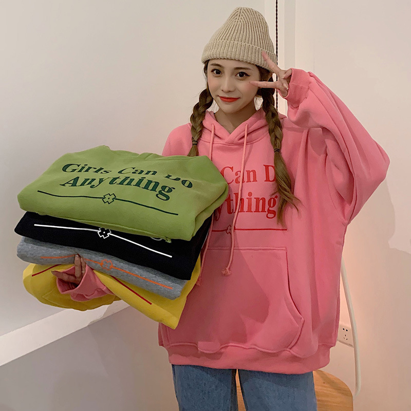 Hoodies Women Ropa Mujer Korean Style Aesthetic Oversized Harajuku Winter 2020 Long Sleeve Thickened Hoodie Letter Loose Clothes