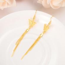 Classic drop Earrings 18k Gold Color butterfly Jewelry Women girls wedding bridal party Earrings gifts недорого