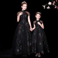 Mother Daughter Lace Wedding Dresses Flower Print Family Look Summer 2020 New Mom and Daughter Long Dress Family Match Outfits