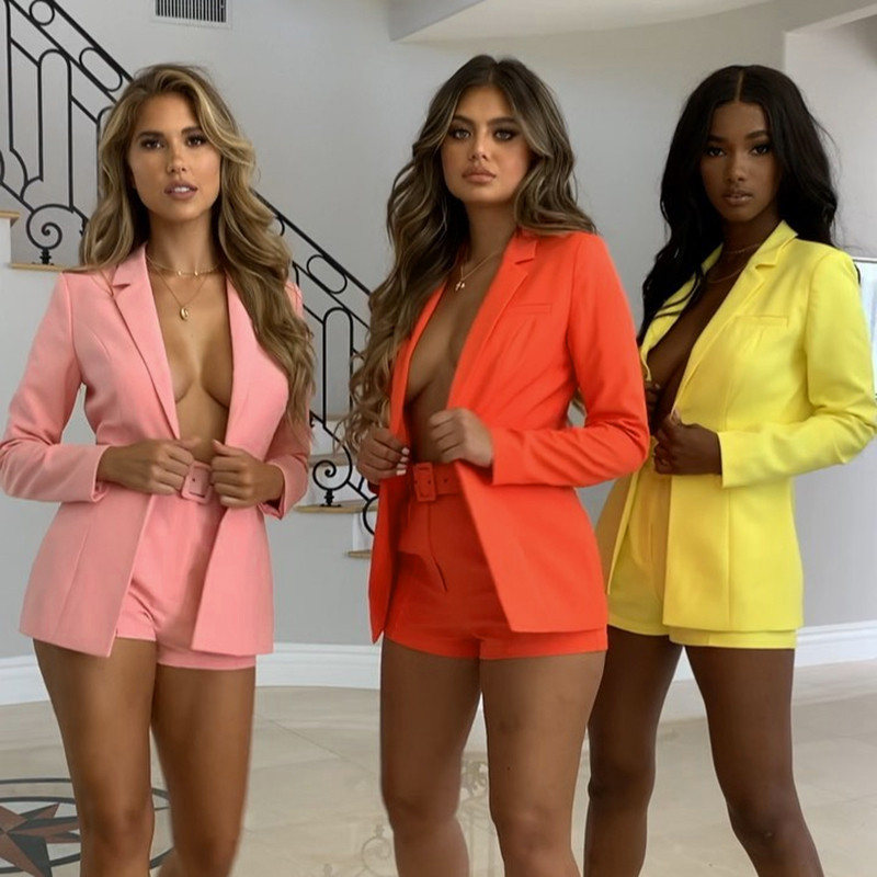 2019 Women OL Two Piece Set Spring Autumn New Fashion Elegant Lady Slim Open Stitch Jacket Short Pants Woman 2 Pieces Blazer Set