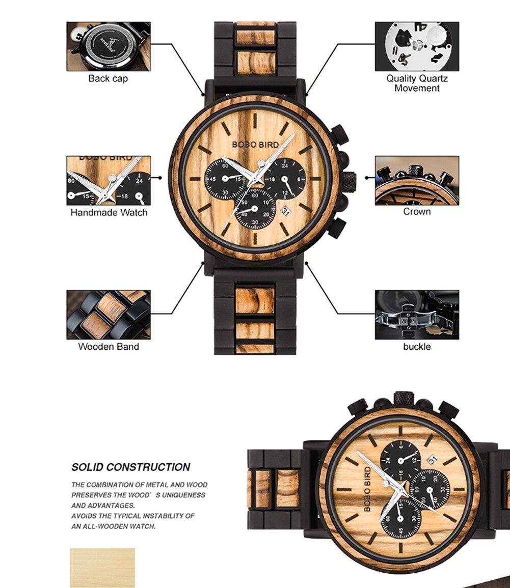 H8c5cf06d239b4cfe8160658e74699dc1L BOBO BIRD Wooden Watch Men erkek kol saati Luxury Stylish Wood Timepieces Chronograph Military Quartz Watches in Wood Gift Box