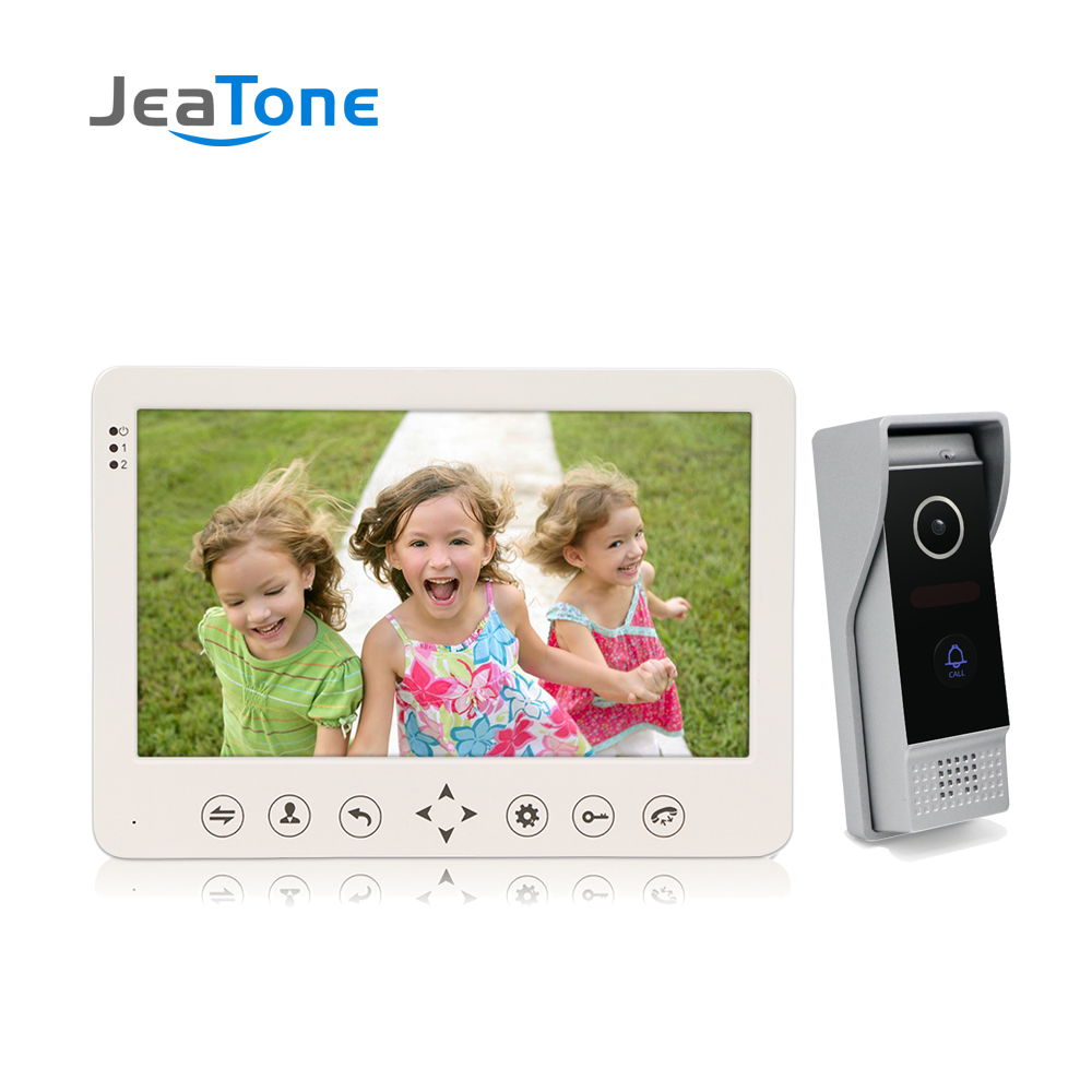 JeaTone 7'' TFT LCD Wired Video Door Phone Visual Video Intercom Speakerphone Intercom System With Waterproof Outdoor IR Camera