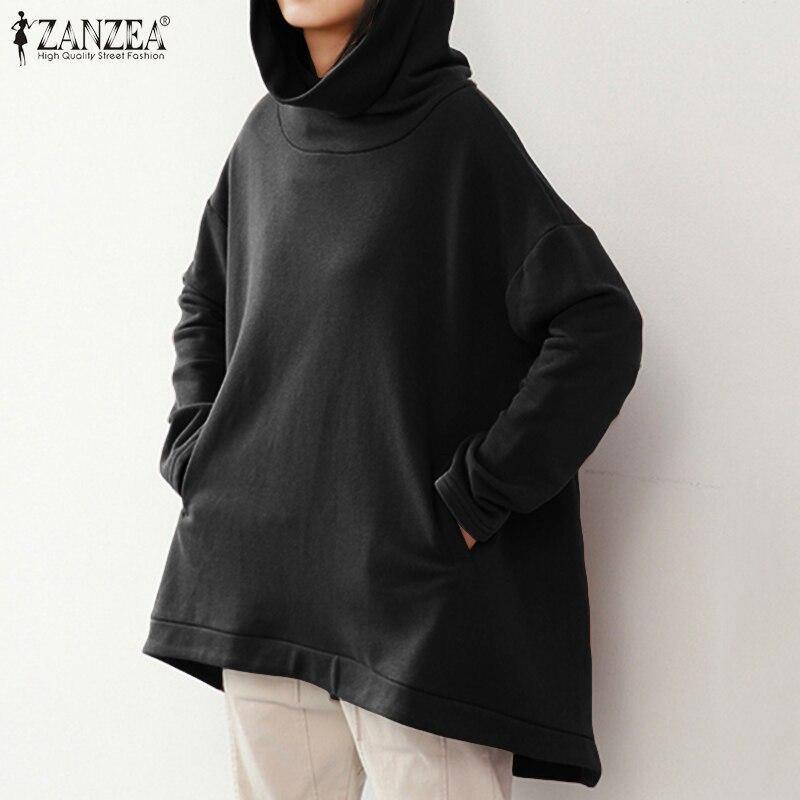 Women Clothing ZANZEA Women Long Sleeve Hooded Sweatshirt 2020 Spring Casual Solid Pockets Hoodies Pullover Plus Size Sweatshirt