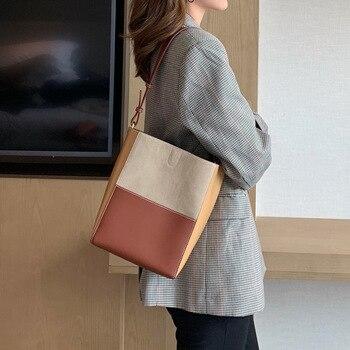 Fashion Patchwork Genuine Leather Tote Bag Women Bucket Luxury Handbags Female Shoulder Bags Designer Crossbody Bag For Women