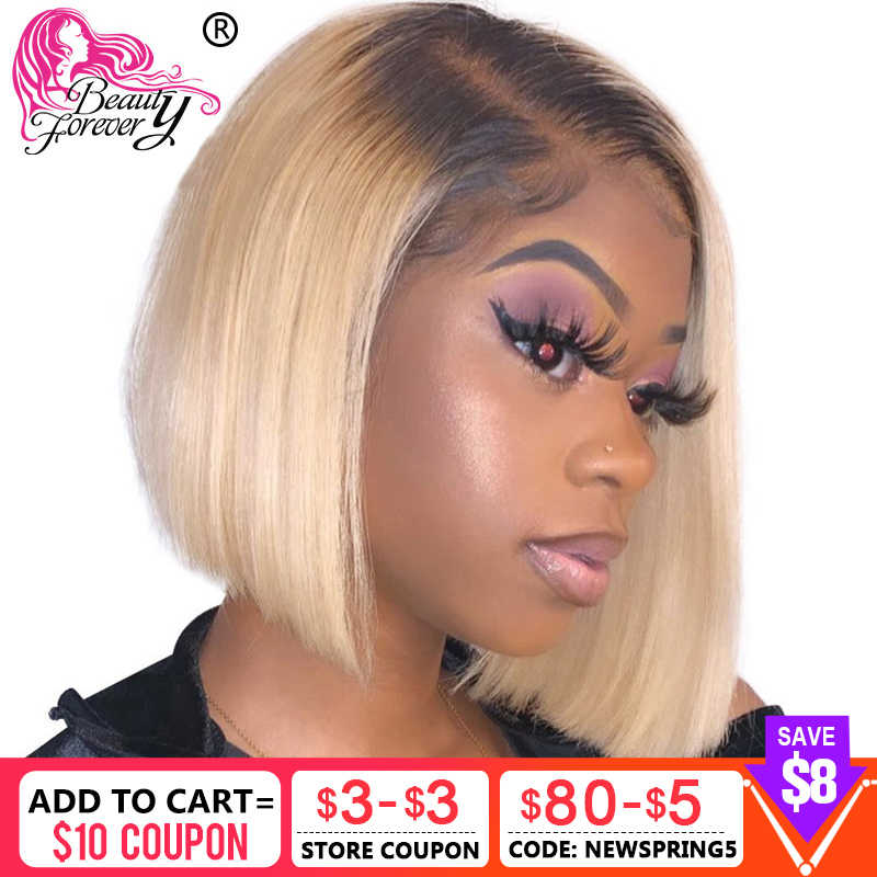 Beauty Forever 13*4 Lace Front Wigs Pre Plucked Brazilian Straight Short Bob Lace Wig Remy Human Hair Wigs 1B 613 Ombre Wigs