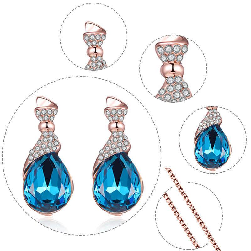 2019 nowy cyrkonia Brindal komplet biżuterii damskiej Rhinestone owalne kolczyki naszyjnik kobieta Wedding Party biżuteria prezent
