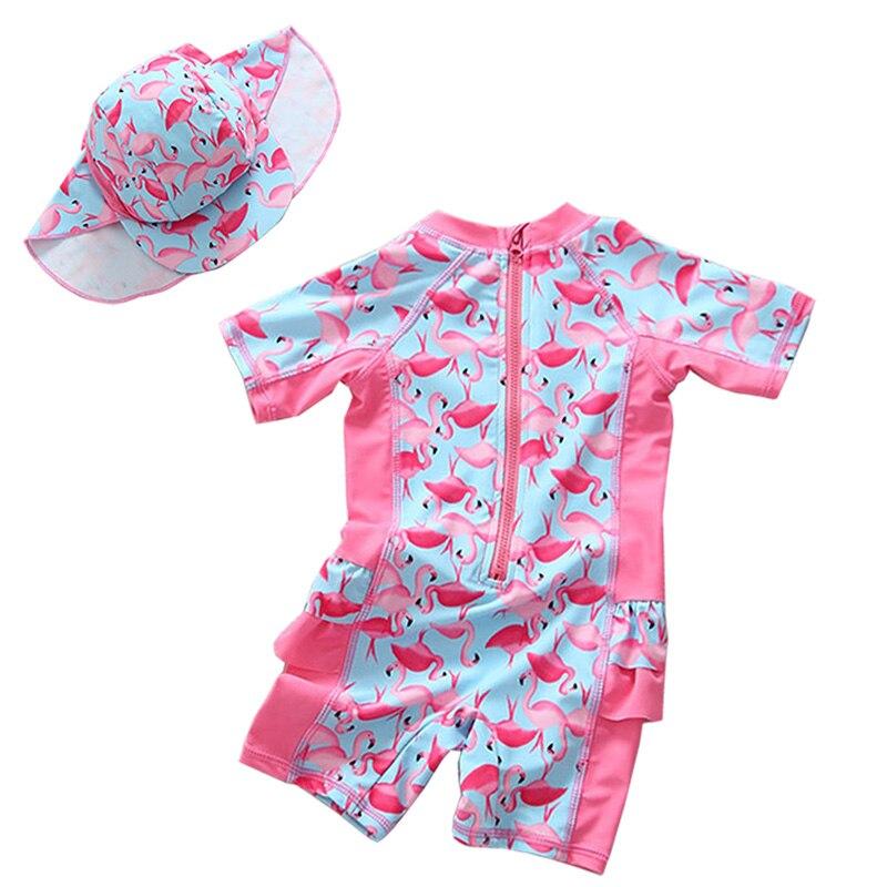 Kids UV UPF50+ Shark Cartoon Swimsuit Boys Girls Cute Rabbit One-Piece Swimwear with Hat Little Girl Bathing Suit Beachwear 1-5Y