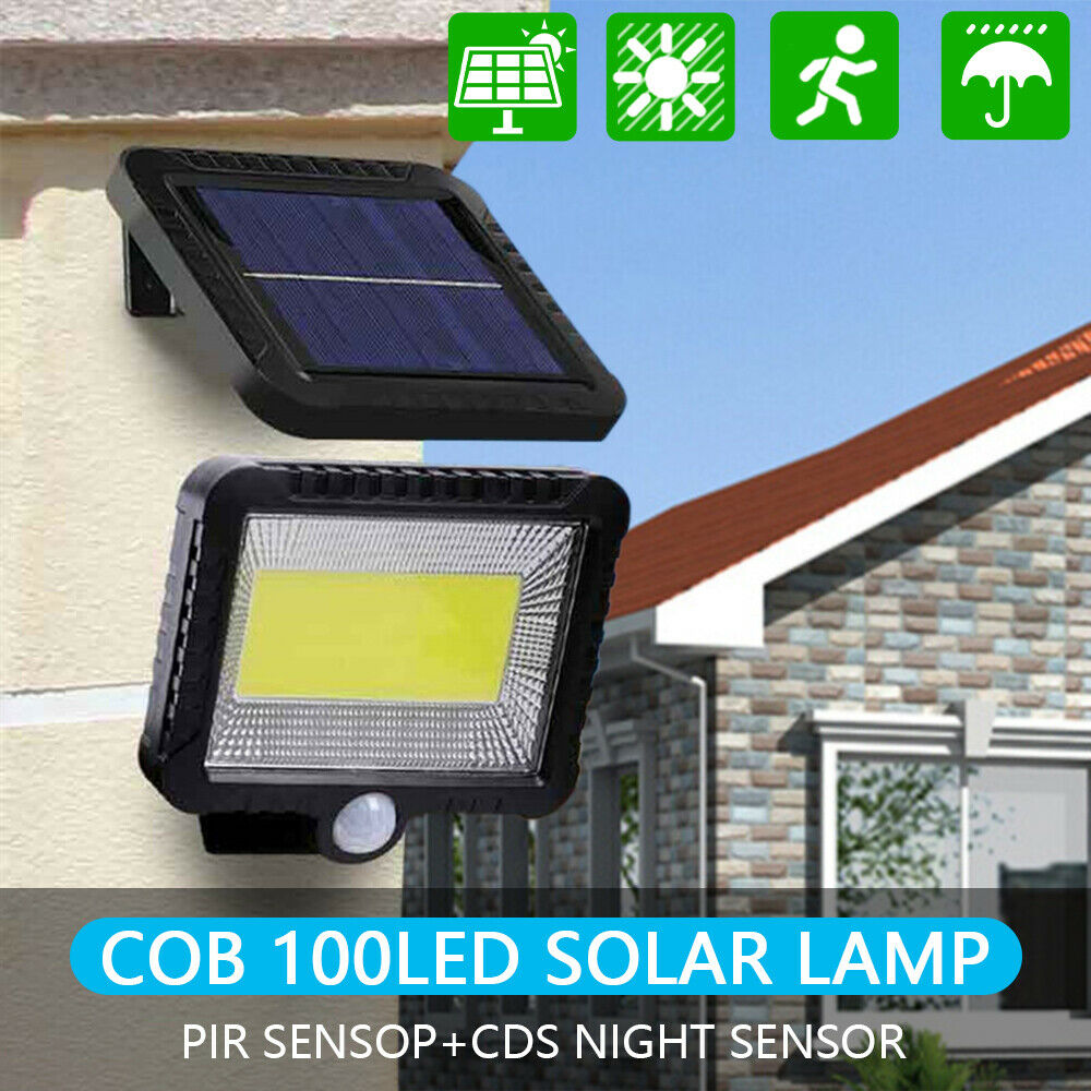 30W 100 LED Solar Light Outdoors Solar Garden Light Waterproof PIR Motion Sensor Wall Lamp Spotlights Emergency Street Lamp