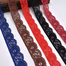 цена на 10Yards/lot Elastic Lace Trim for Sewing Clothing Decorations 24mm Stretch Lace Fabric Ribbon Embroidery DIY Wedding Accessories