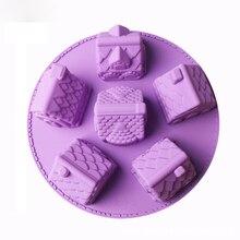 6 отверстий, форма для Рождественской Выпечки, выпечки печенья, торта, формочки для дома, 3D шоколадный инструмент для украшения, силиконовые пряники, случайный цвет