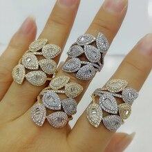 Godki luxo folhas cluster design bold anéis de afirmação com zircônia pedras 2020 feminino festa noivado jóias alta qualidade