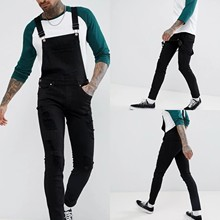 Overall Jumpsuit Pants Jeans Suspender Button-Pocket Streetwear Plus-Size Casual Casual