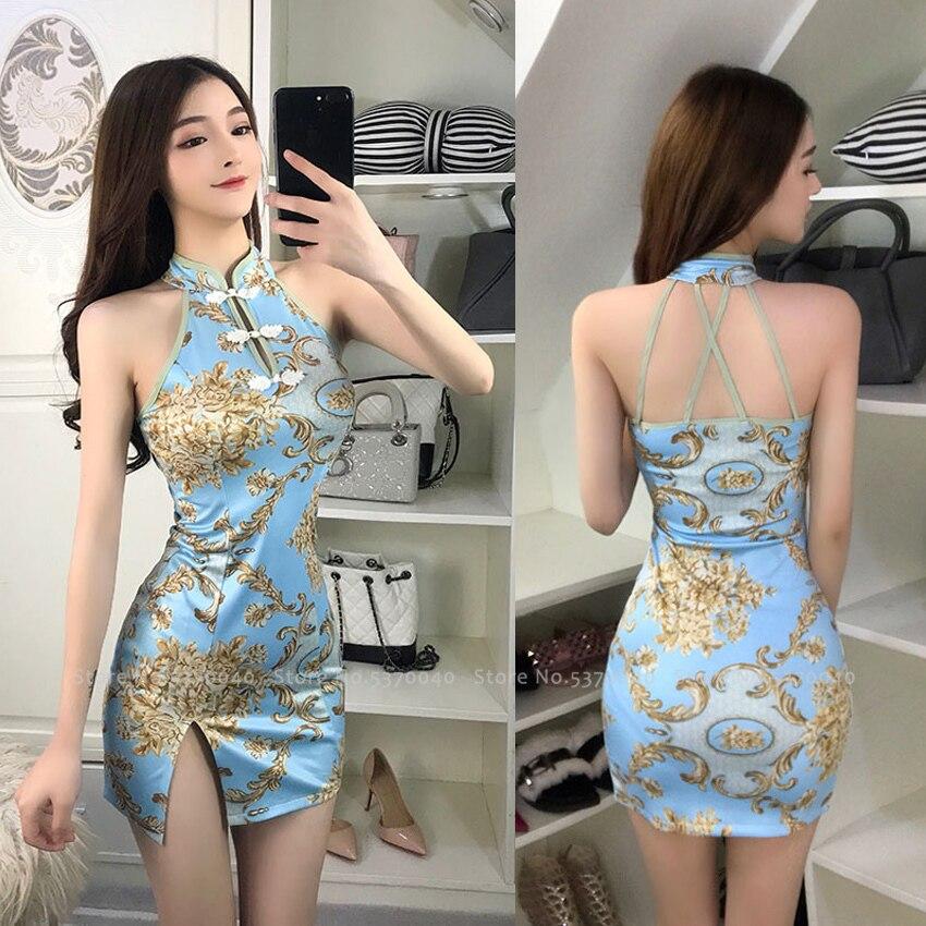 Women Tight Chinese Style Cheongsam Qipao Formal Dress Lady Nightclub Sexy Bandage Party Split Bandage Dresses Coaplay Costumes