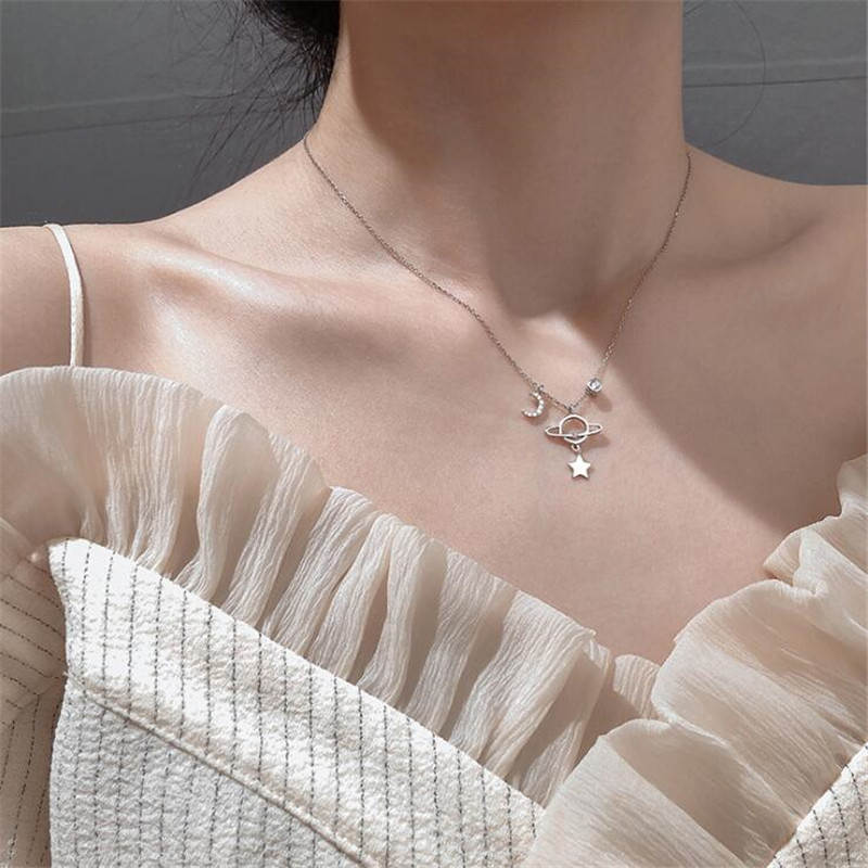 New Creative Beautiful Planet Moon And Star 925 Sterling Silver Jewelry Personality Crystal Clavicle Chain Necklaces H527