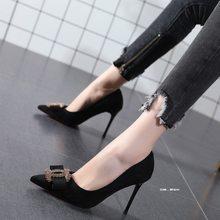 Diamond Girl's high heels Black Sexy fairy style bowknot thin heel pointed single shoes