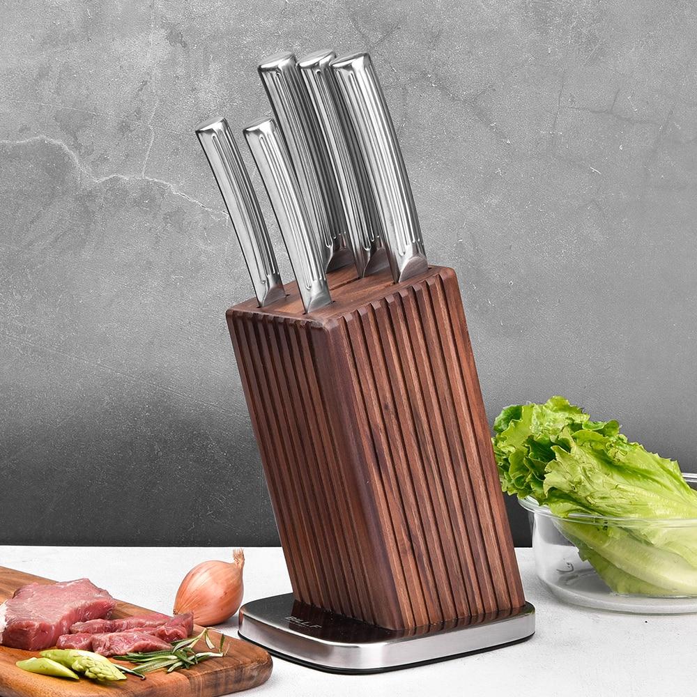 Kitchen Knife Set Block,6Piece Professional Knives Set Vertical Non-Slip Hollow Handle,Stainless Steel Finish Kitchen Knives Set