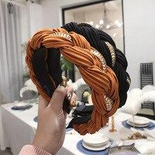 Однотонная полоска, крученая тесьма, повязка для волос, модная цепочка из сплава, широкие боковые резинки для волос для женщин, повязка на голову, обруч, аксессуары для волос для девочек