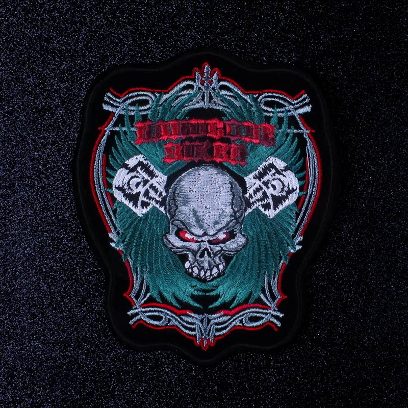 Pulaqi Motorcycle Biker Embroidered Patches For Clothing Skull Iron On Patches On Clothes Stickers Stripe Applique Death Patch in Patches from Home Garden