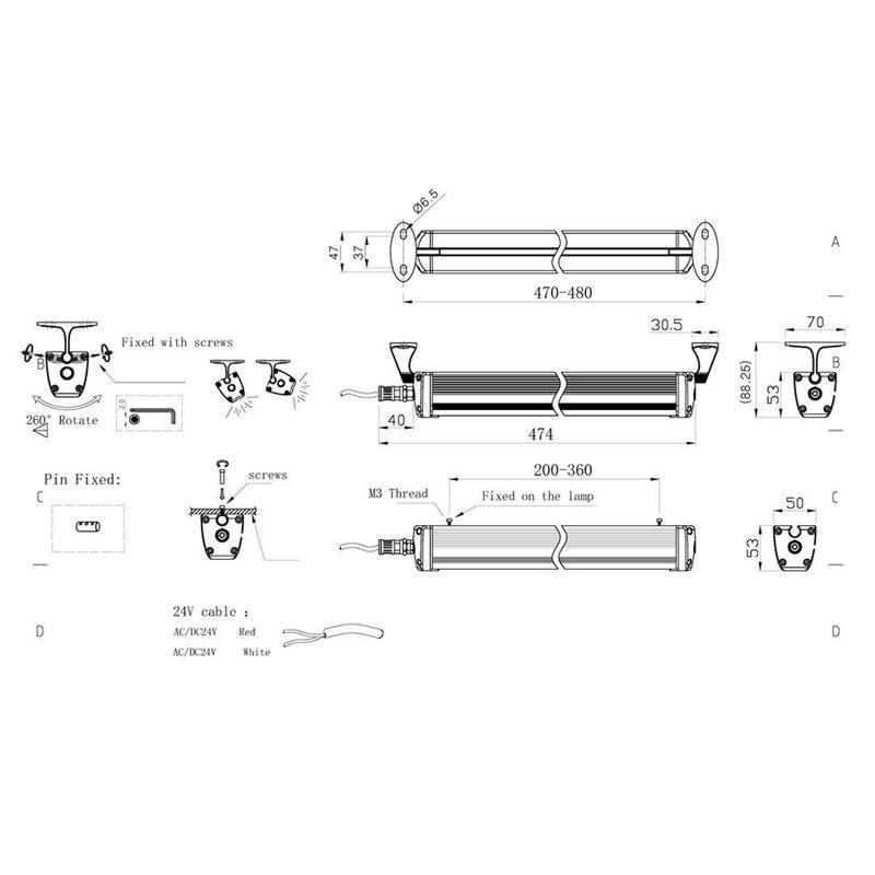 12W 24V Ip68 взрывозащищенный светодиодный светильник/длинный 17,5 дюймов водонепроницаемый Промышленный Станок с ЧПУ светодиодный светильник ing... - 6