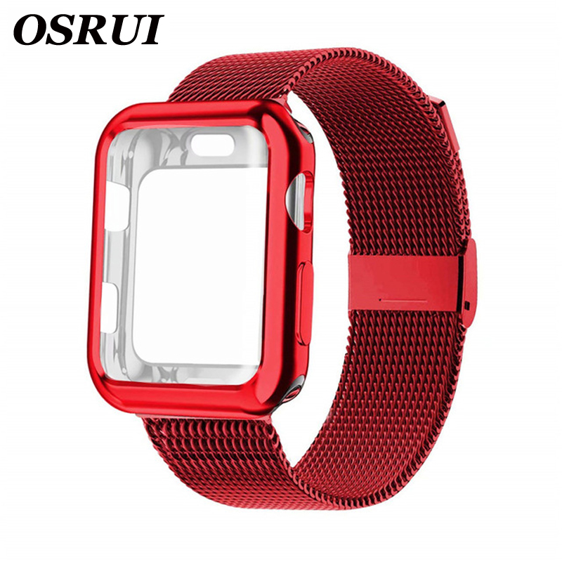 Milanese Loop Band With Case For Apple Watch Series 5/4/3/2 38mm 42mm 40mm 44mm Stainless Steel Strap Wrist Bracelet For Iwatch