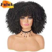 Парик кудрявый для чернокожих женщин, Короткие афро кудрявые натуральные волосы с челкой, синтетические волосы без клея для косплея, блонд, ...
